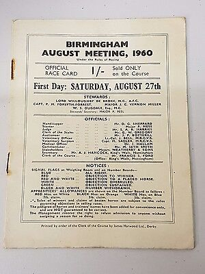 Rare Racecard from Birmingham Racecourse August Meeting 1960
