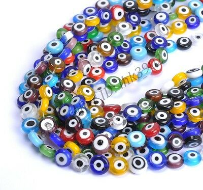 Mixed Round MILLEFIORI Evil Eye Glass Loose Spacer BEADS 6MM 8MM 10MM 12MM