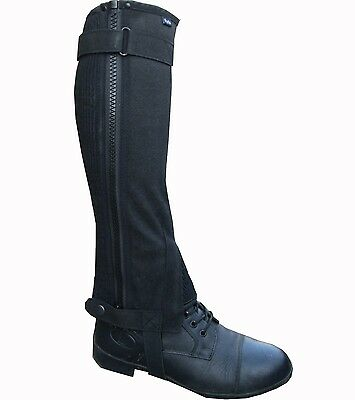 Ryda Ladies Mens Black Washable Amara Suede Horse Riding Half Chaps Gaiter 5