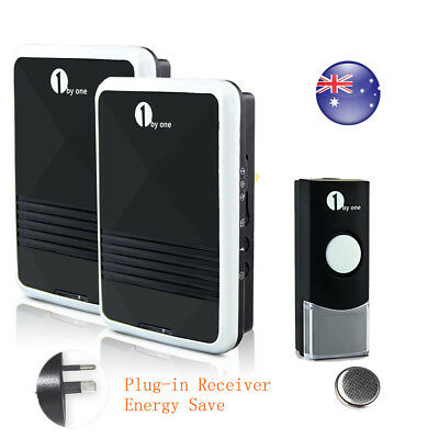 Wireless Digital Doorbell Chime Waterproof Remote Sync 2 X AU Plug-in Receivers