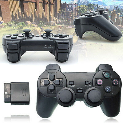 2 X Black Wireless Shock Game Controller +2 X Receiver for Sony Playstation PS2