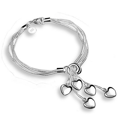 925 Silver Snake Chain Heart Pendant Charm Women Bracelet Bangle Wristband Gift