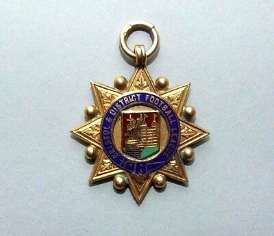 Bristol & District Football League Solid 9Ct Gold & Enamel Badge / Fob.inscribed