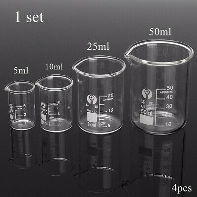 5/10/25/50ml Chemistry Lab Glass Beaker Borosilicate Measuring Chemical Tools