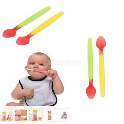 2x/set Baby Safety Silicone Temperature Sensing Spoon Feeding Flatware Gift