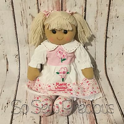 Personalised embroidered rag doll, pink, christening gift, new baby 40cm