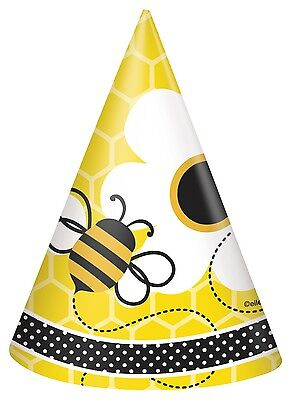 Busy Bees | Honeycomb | Polka Dot | Yellow Cone Party Hats | Favour 1-48pk