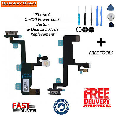 NEW Replacement On/Off Power/Lock Button/Switch + Dual LED Flash For iPhone 6