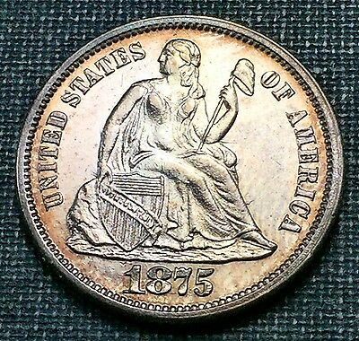 1875 Seated Liberty Dime Choice UNC *Great Color*