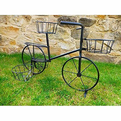 Planter Stand Garden Metal Bicycle Plant Stand Holding 4 Pot Plants Black