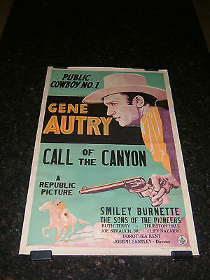 """CALL OF THE CANYON 1942 Original Movie Poster, 27"""" x 41"""", C8 Very Fine Restored"""