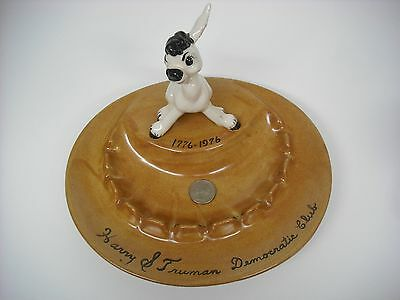 1976 Harry Truman Collectible Vintage Democratic Club Donkey Ceramic Ashtray