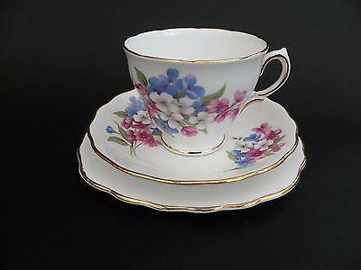 Royal Vale Bone China Floral Cup Saucer & Plate Trio.