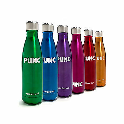 Punc Stainless Steel Insulated Drinks Bottle - Great For Hiking and Camping