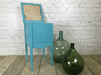 sewing box - side table - storage unit - painted turquoise blue