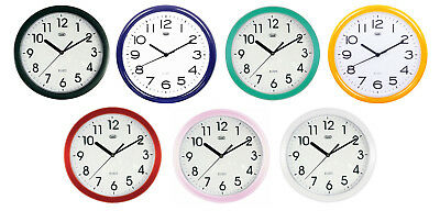Trevi Retro Round Wall Clock 25cm Display Silent Sweep No Ticking FREE DELIVERY