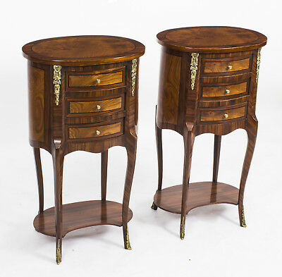 Pair Loius XVI Style Burr Walnut & Birdseye Maple Bedside Cabinets 20th C