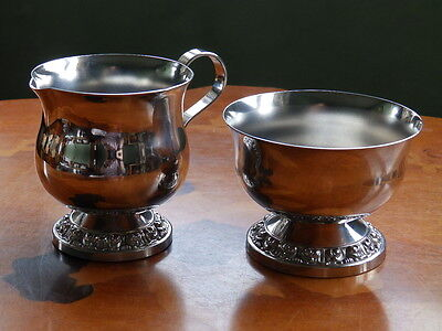 Vintage Ianthe silver plated sugar bowl and creamer set