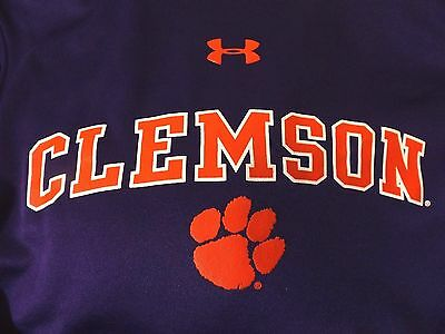 Clemson Tigers Purple Under Armour Hooded Pullover Hoodie Loose Fit Youth YMD