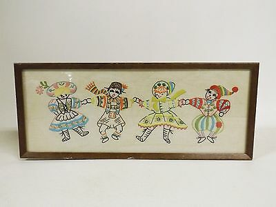 Folk Dancers Children Framed Completed Stamped Embroidery Piece 19.5 x 8