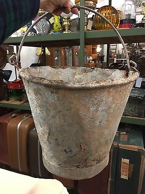Vintage Solid Galvanized Bucket Planter Plant Pot Garden Decor Rustic Farm