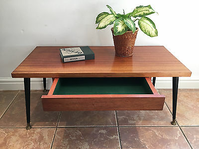 Mid century vintage retro 1960s 1970s coffee table / side table with drawer