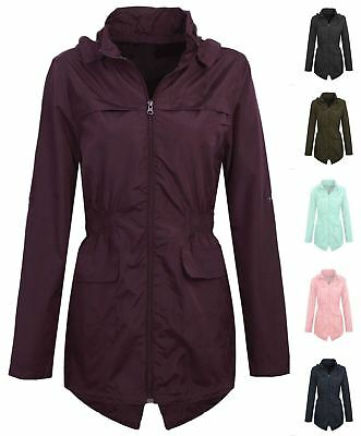 e2823eab897f0 New Womens Ladies Plus Size Hooded Mac Lightweight Showerproof Rain Coat  Jacket
