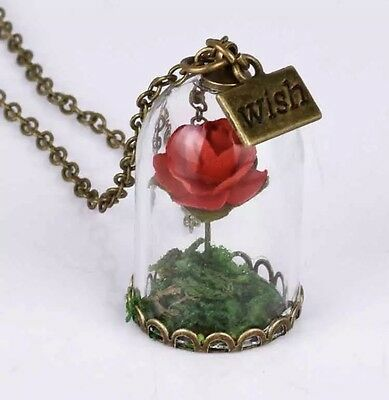 Enchanted Red Rose In Glass Dome/ Wish Necklace Beauty And The Beast With Bag
