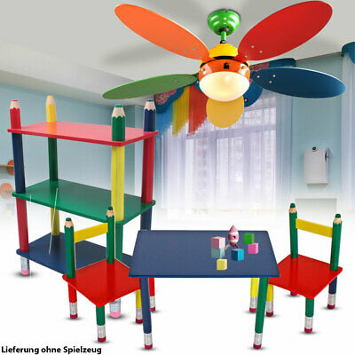 Children furniture set ceiling fan lamp table group solid wood shelf colorful