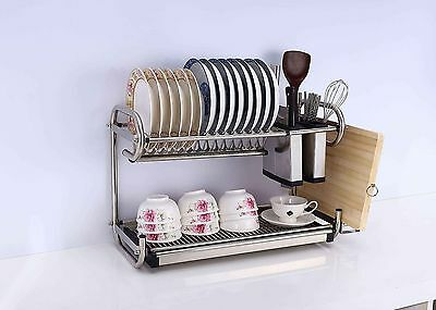 New 2 Tier Stainless Steel Dish Plate Cutlery Rack Kitchen Drainer Holder Tray