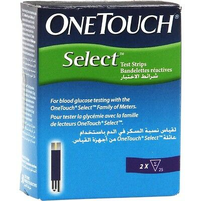 50 pcs One Touch Select Johnson & Johnson Test Strips blood glucose Exp 01/2018
