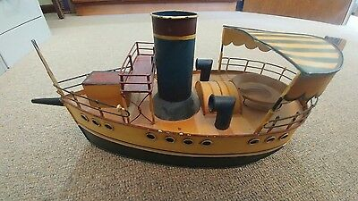 Tin Model Boat Colors are green, cream, white, navy and red, 2 British flags