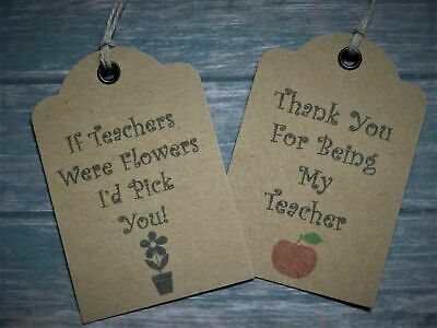16 Thank You Teacher Gift Tags Labels Strung with Natural Twine apple or flower