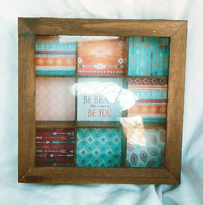 Sectioned Wooden Storage / Jewellery / Trinket Box with Glass Lid - Shabby Chic