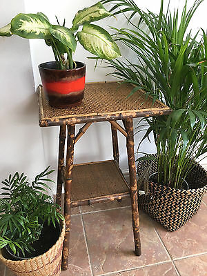 Mid century vintage retro 1960s 70s bamboo wicker plant stand / table boho style