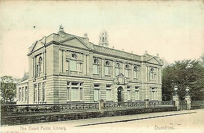 Vintage Tinted Postcard The Ewart Library Dumfries Scotland