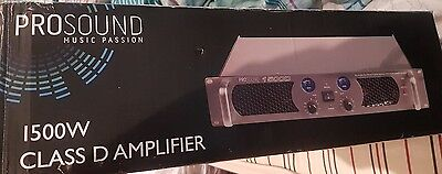 Prosound Amplifier 1500W Class D 2 Channel 2 Outputs For Passive Speakers