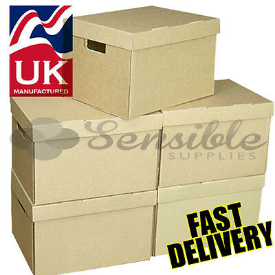 10 x STRONG ARCHIVE CARDBOARD STORAGE  BOXES WITH HANDLES & TRIPLE WALL SIDES