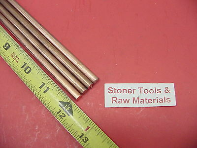 "4 Pieces 1/4"" C110 COPPER ROUND ROD 12"" long H04 .250"" CU New Lathe Bar Stock"