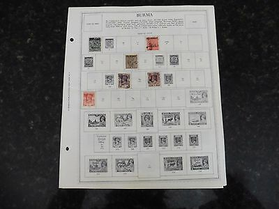 D55 Lot of Burma stamps 1937-1965 Hinged in 3 Minkus Album Pages