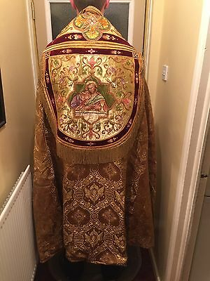 Antique Gold Embroidered Priest's Cope. Highly Decorated And Exquisite.