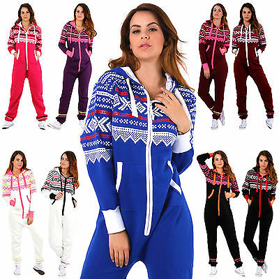 Womens Aztec Print One Piece Suit Ladies Hooded Zip All In One Fleece Jumpsuit