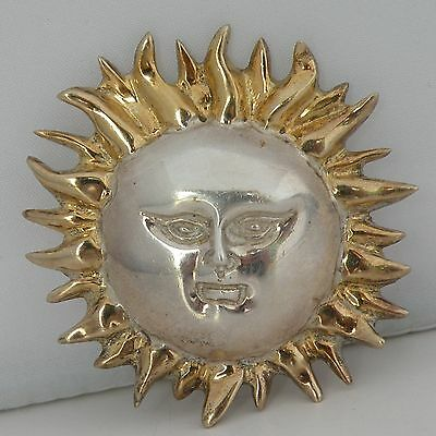 Vintage Gold over 925 sterling silver Sergio Bustamante Sun face pin, brooch big
