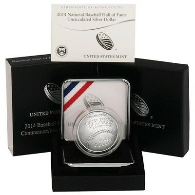 2014 P National Baseball Hall Of Fame US Mint Uncirculated Silver Dollar Coin $