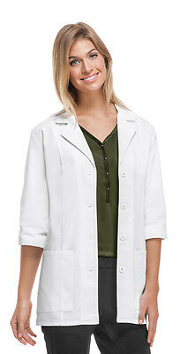 """Cherokee 30"""" 3/4 Sleeve Lab Coat in White #1470 Regular or Antimicrobial NWT"""
