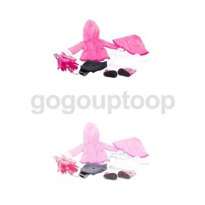2 Sets Rosy & Pink Raincoat Pants Boots Shoes Set for 17'' Zapf Baby Born Doll