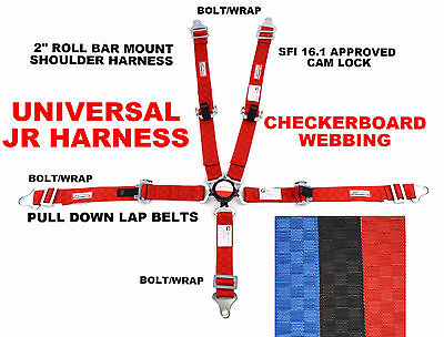 Junior Dragster Universal Harness Pull Down Lap Belts Sfi 16-1 Red Checkerboard