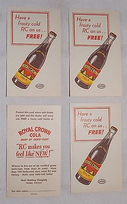 1950s RC Royal Crown Cola Advertising Coupon Cards for a Free Soda - Lot of 4