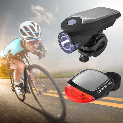 Solar Powered Bicycle Lamp Bike Bright LED Head Tail Light for Safety Ride CS458