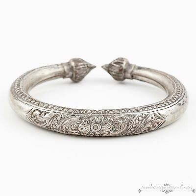 Antique Vintage Art Deco Sterling Silver Chinese Repousse Chased Cuff Bracelet!